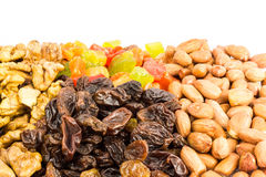 Mix of nuts and dried fruits  on white background Royalty Free Stock Image