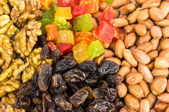Mix of nuts and dry fruits, background, close-up Stock Photos