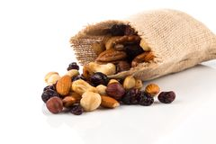 Mix nuts, dry fruits and grapes Royalty Free Stock Images