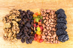 Mix of nuts and dry fruits on wooden background Royalty Free Stock Image