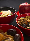 Mix nuts and fruits stock photos