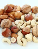 Mix nuts, hazelnuts, almonds, cashews Royalty Free Stock Photos