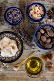Mix of nuts and herbal, Argan and shea butter Stock Photo