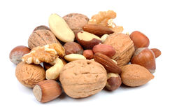 Mix nuts isolated on white background. Stock Images