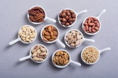 Mix of nuts. Pistachios, almonds , walnuts , pine nut , hazelnuts and cashew . Snack in bowl backgrond stock photo