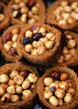 Mix nuts in pasta basket Royalty Free Stock Photos