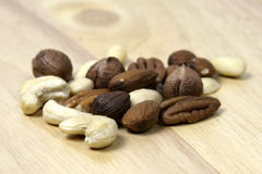Mix of nuts. A pile of different kinds of nuts Royalty Free Stock Photography