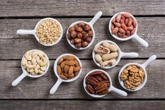 Mix of nuts. Pistachios, almonds , walnuts , pine nut , hazelnuts and cashew . Snack in bowl backgrond royalty free stock images