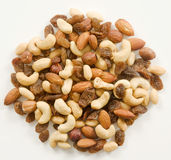 Mix of nuts and raisins Stock Images
