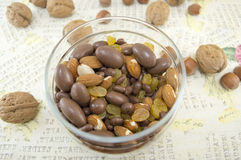 Mix of nuts, raisins,hazelnuts, almonds and chocolate in the bowl Royalty Free Stock Photography