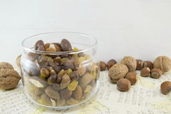 Mix of nuts, raisins,hazelnuts, almonds and chocolate in the bowl Royalty Free Stock Photo