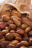 Mix nuts in sack. Almonds, hazelnuts Royalty Free Stock Photos