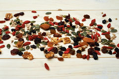 Mix nuts seeds and dry fruits Stock Images