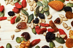 Mix nuts seeds and dry fruits Royalty Free Stock Photo