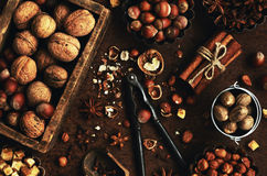 Mix of nuts and spices for baking cakes Royalty Free Stock Photography
