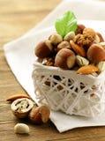 Mix nuts - walnuts, hazelnuts, almonds Stock Image