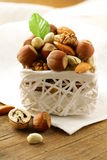 Mix nuts - walnuts, hazelnuts, almonds Stock Photo