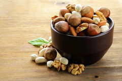 Mix nuts - walnuts, hazelnuts, almonds Royalty Free Stock Image