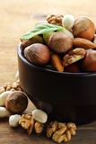 Mix nuts - walnuts, hazelnuts, almonds Royalty Free Stock Photos