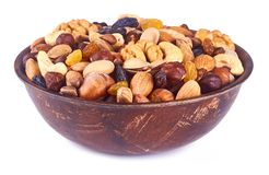 mix nuts on white background Stock Image