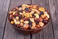 Mix nuts on wood background Royalty Free Stock Photo
