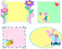 Mix Of Frames With Flowers And Animals Stock Photo