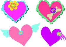 Mix Of Hearts With Flowers, Wings, And Pet Bones Royalty Free Stock Photography