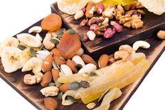 Free Mix Of Nuts And Dry Fruit On A Wooden Board Royalty Free Stock Photos - 75906958