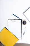Mix of office supplies and gadgets Royalty Free Stock Photo