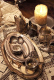 Mix of old silver and bronze dish and figurines Royalty Free Stock Images