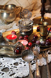 Mix of old silver and bronze dish and figurines Royalty Free Stock Photo