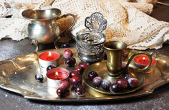 Mix of old silver and bronze dish and figurines Royalty Free Stock Image