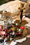 Mix of old silver and bronze dish and figurines Royalty Free Stock Photography