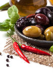 Mix of olives and chili pepper Royalty Free Stock Photo