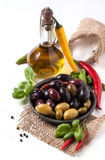 Mix of olives and chili pepper Stock Image