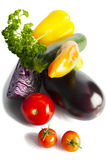 Mix of organic vegetables on white. Royalty Free Stock Photo