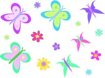 Mix Page of Butterflies and Flowers royalty free illustration
