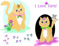 Mix Page of Cats and Paw Prints Stock Photos