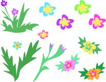 Mix Page of Flowers and Stalks Royalty Free Stock Images