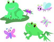 Mix Page of Frogs, Dragonfly, and Butterfly Stock Photography
