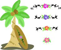 Mix of Palm Tree, Coconuts, Surf Board, and Flower Stock Images