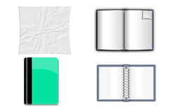 Mix paper, book, note book. Open notebook,paper  on white background Royalty Free Stock Photo