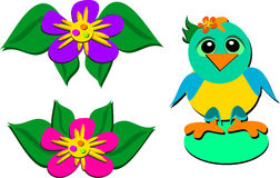 Mix of Parrot and Flowers Royalty Free Stock Photos