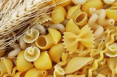 Mix of pasta shapes varieties royalty free stock photo
