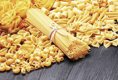 Mix of pasta on wood Royalty Free Stock Photography