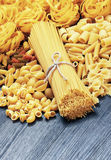 Mix of pasta on wood Royalty Free Stock Photo