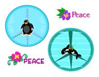 Mix of Peace Signs and Animals Stock Photography