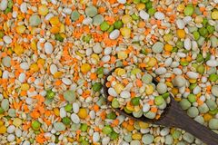 Mix of pearl barley, haricot beans, split peas lentils, marrowfat peas, brown rice. Soup stew mix with pulses, grains royalty free stock images