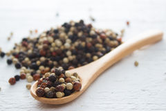 Mix Pepper. Pepper in wooden spoon/ mixture of red pepper, black pepper, white pepper, green pepper Stock Images