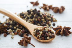 Mix Pepper. Pepper in wooden spoon/ mixture of red pepper, black pepper, white pepper, green pepper Royalty Free Stock Images